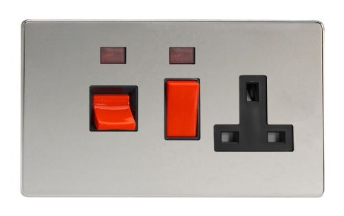 Varilight XDC45PNBS Screwless Polished Chrome 45A DP Cooker Switch + 13A Switched Socket